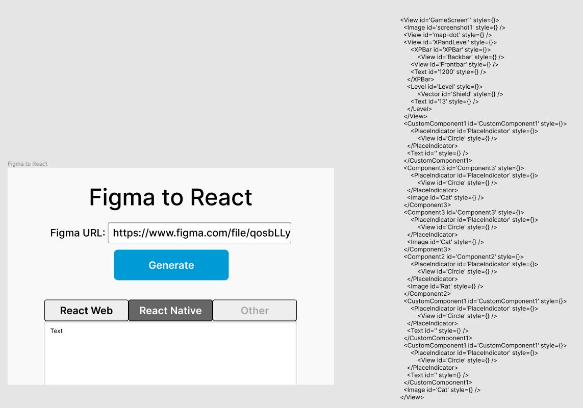 示例:左侧为设计稿,右侧为生成的React代码